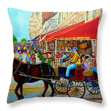 Throw Pillow featuring the painting Cafe La Grande Terrasse by Carole Spandau