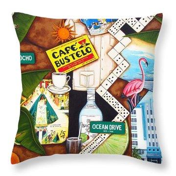 Cafe Miami Throw Pillow by Joseph Sonday