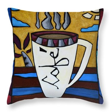 Throw Pillow featuring the painting Cafe Resto by Oscar Ortiz