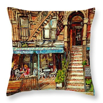 Cafe Mogador Moroccan Mediterranean Cuisine New York Paintings East Village Storefronts Street Scene Throw Pillow