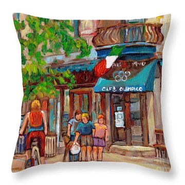 Cafe Olimpico-124 Rue St. Viateur-montreal Paintings-sports Bar-restaurant-montreal City Scenes Throw Pillow by Carole Spandau