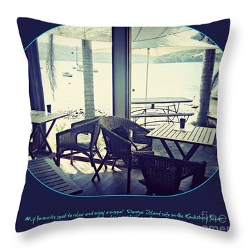 Throw Pillow featuring the photograph Cafe On The River by Leanne Seymour
