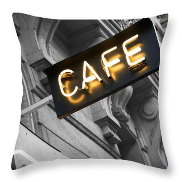 Cafe Sign Throw Pillow by Chevy Fleet