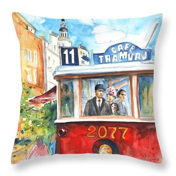 Cafe Tramvaj In Prague Throw Pillow by Miki De Goodaboom