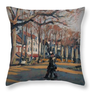 Throw Pillow featuring the painting Cafes Along The Munster Square Roermond by Nop Briex