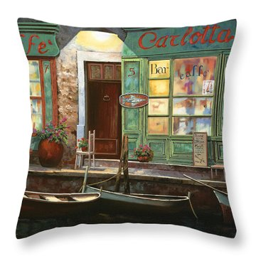 caffe Carlotta Throw Pillow by Guido Borelli