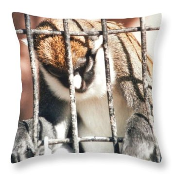 Caged But Strong Throw Pillow