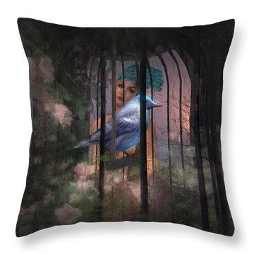 Caged Bird Throw Pillow by Kylie Sabra
