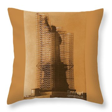 Throw Pillow featuring the photograph Lady Liberty Statue Of Liberty Caged Freedom by Michael Hoard