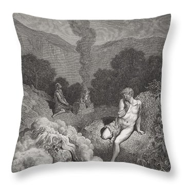 Cain And Abel Offering Their Sacrifices Throw Pillow by Gustave Dore