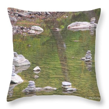Cairns Stacked In The Water Throw Pillow
