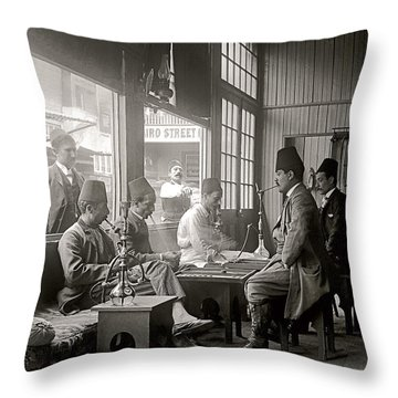 Throw Pillow featuring the photograph Cairo St. Cafe 1894 by Martin Konopacki Restoration