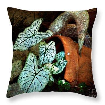 Caladiums In Broken Pot Throw Pillow