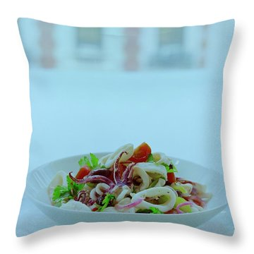 Calamari Salad Throw Pillow