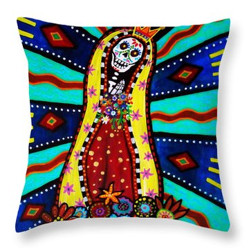 Throw Pillow featuring the painting Calavera Virgen by Pristine Cartera Turkus