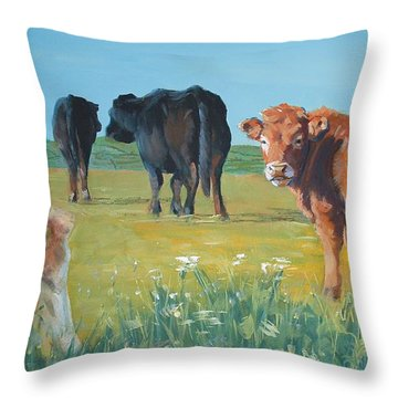 Calf Painting Throw Pillow