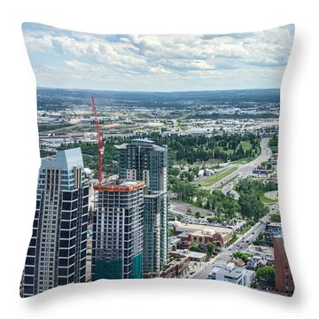 Calgary Skyscrapers Seen From The Calgary Tower Throw Pillow