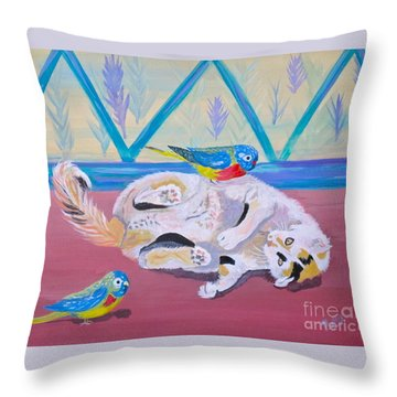 Calico And Friends Throw Pillow by Phyllis Kaltenbach