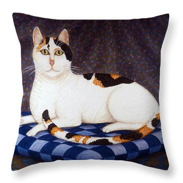 Calico Cat Portrait Throw Pillow by Linda Mears