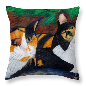 Calico Cats Throw Pillow