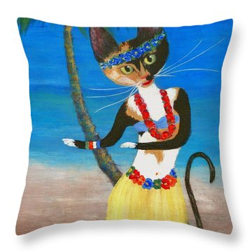 Calico Hula Queen Throw Pillow by Jamie Frier