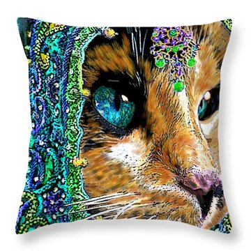Calico Indian Bride Cats In Hats Throw Pillow