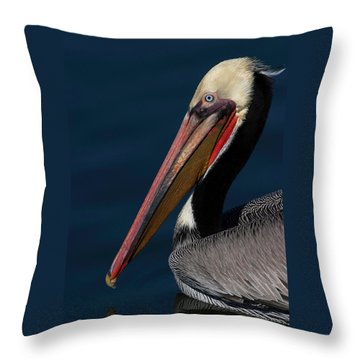 Throw Pillow featuring the photograph California Brown Pelican Portrait by Ram Vasudev