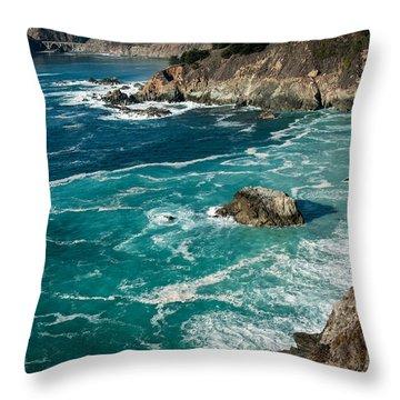 California Coast - Big Creek Bridge Throw Pillow by George Buxbaum