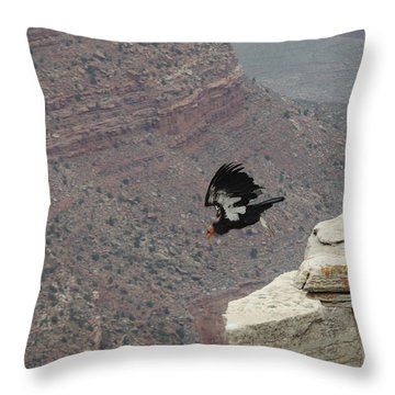 Throw Pillow featuring the photograph California Condor Taking Flight by Jayne Wilson