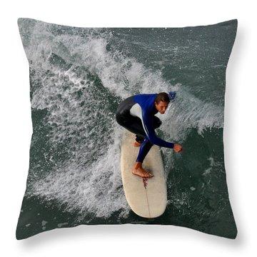 California Dreamin Surfer Throw Pillow by Diane Lent