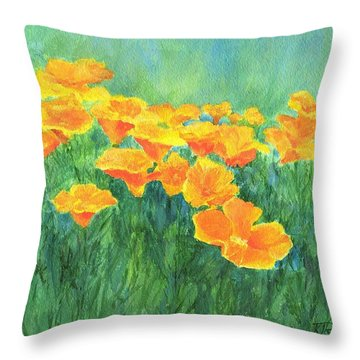 California Golden Poppies Field Bright Colorful Landscape Painting Flowers Floral K. Joann Russell Throw Pillow