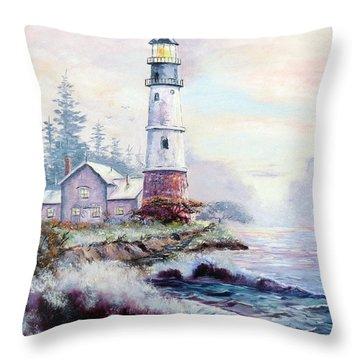 California Lighthouse Throw Pillow by Lee Piper