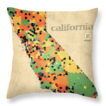California Map Crystalized Counties On Worn Canvas By Design Turnpike Throw Pillow