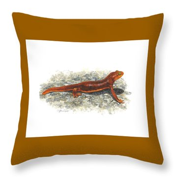 California Newt Throw Pillow by Cindy Hitchcock