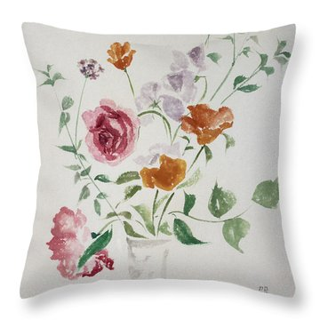 California Poppies And Roses In A Vase Throw Pillow by Asha Carolyn Young