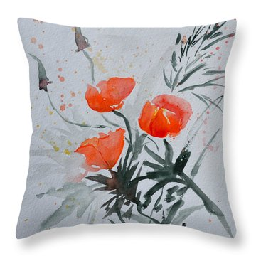 California Poppies Sumi-e Throw Pillow