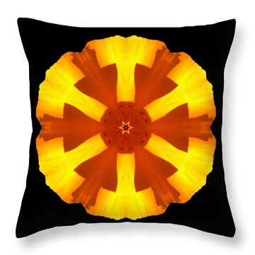 Throw Pillow featuring the photograph California Poppy Flower Mandala by David J Bookbinder