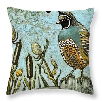 Throw Pillow featuring the painting California Quail by VLee Watson