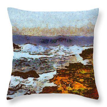California Seascape Throw Pillow by Barbara Snyder