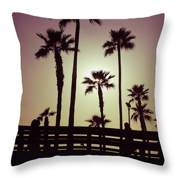 California Sunset Picture With Palm Trees Throw Pillow by Paul Velgos