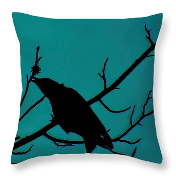 Call Of The Crow On Aqua 2 Throw Pillow