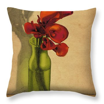 Throw Pillow featuring the drawing Calla Lilies In Bloom by Meg Shearer