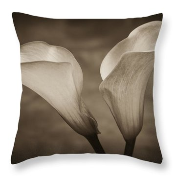 Calla Lilies In Sepia Throw Pillow