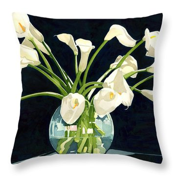 Calla Lilies In Vase Throw Pillow