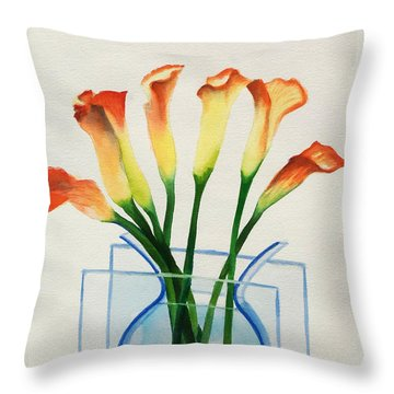 Throw Pillow featuring the painting Calla Lilies by Kathy Braud