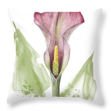 Throw Pillow featuring the painting Calla Lily 01 - Elena Yakubovich by Elena Yakubovich