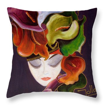 Throw Pillow featuring the painting Calla Lily Dame.. by Jolanta Anna Karolska