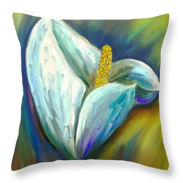 Calla Lily In The Morning Light Throw Pillow by Angela A Stanton