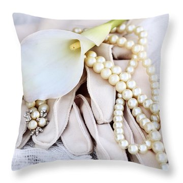 Calla Lily With Pearls Throw Pillow
