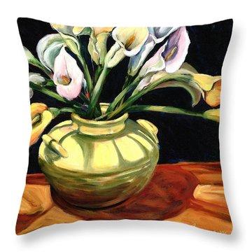 Callas - Floral Art By Betty Cummings Throw Pillow by Sharon Cummings